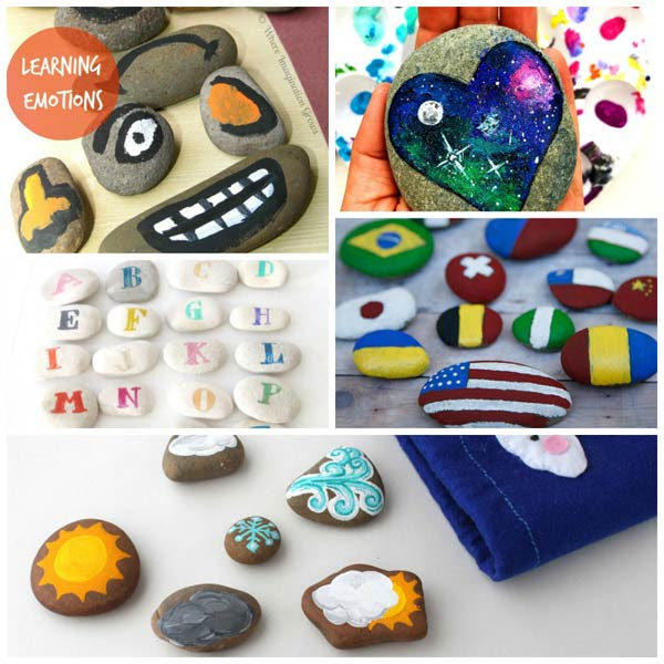 Learning activities with painted rocks