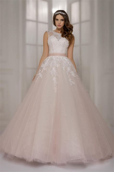 Newest light pink lace ball gowns Wedding Dresses with