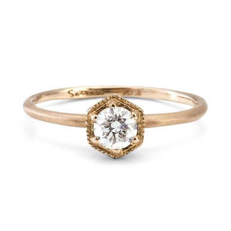 Hexagon Ring, White Diamond, Gold   Catbird