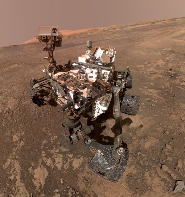 A cropped version of the Curiosity Mars rover's self-portrait, taken with a camera on her robotic arm on January 23, 2018.