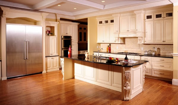 Antique Cream Kitchen Cabinets with Absolute Black Countertops   Yelp