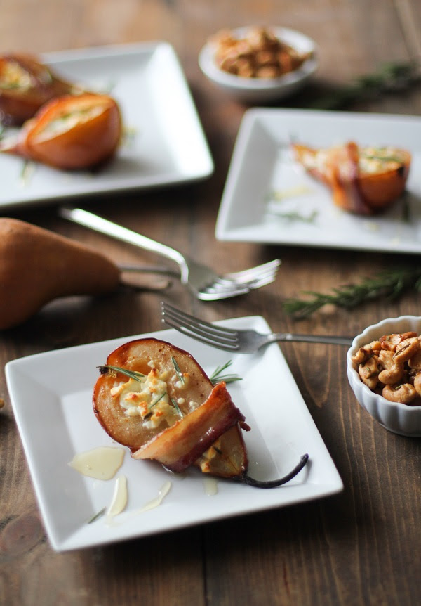 Bacon Wrapped Roasted Pears with Goat Cheese and Honey | The Roasted Root