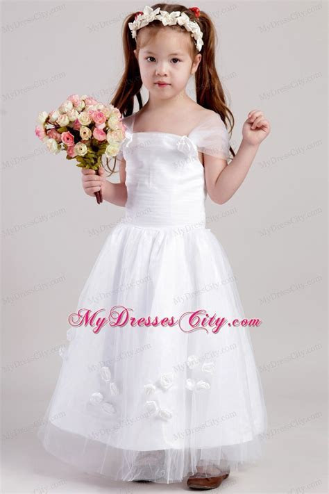 Straps and Flowers Accented Flower Girl Dress A line Ankle
