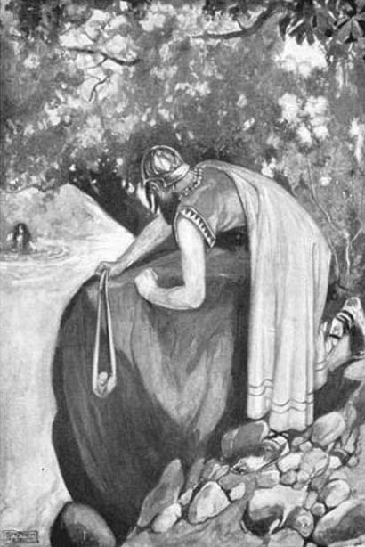 Furbaide readies his sling, from T. W. Rolleston's Myths and Legends of the Celtic Race, 1911 (illustration by Stephen Reid).
