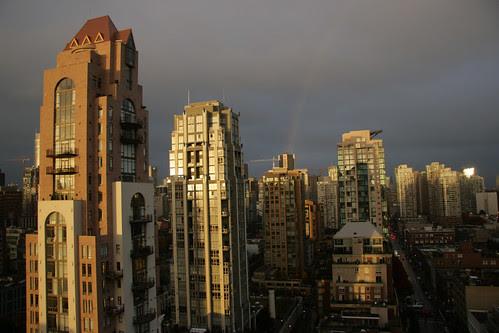 Rainbow over Yaletown on October 14, 2009