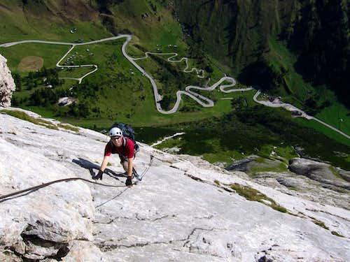 Punta Serauta: Climbing the slab