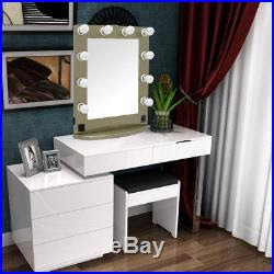 Light Up Dressing Table Hollywood Mirror 10 Led Bulbs Make Up Vanity