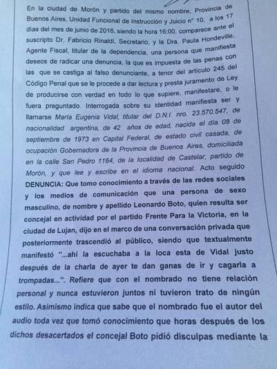 La denuncia que presentó María Eugenia Vidal contra el concejal K que la amenazó.