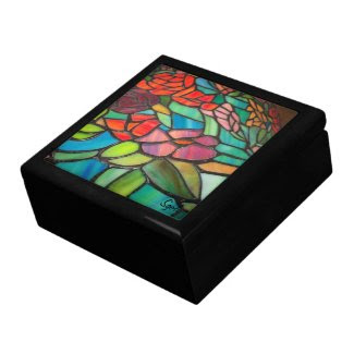 Stained Glass Floral Keepsake Box