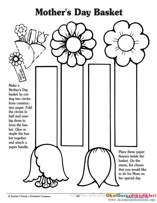 Anneler Günü Kalıplı Kitap Ayraç örnekleri Okul öncesi