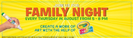Join us for Family Night every Thursday in August from 5-8pm.  Create a work of art with the help of Crayola Color Wonder