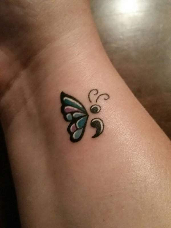 Nice Semicolon Butterfly Tattoo Meaning Tattoo Bytes