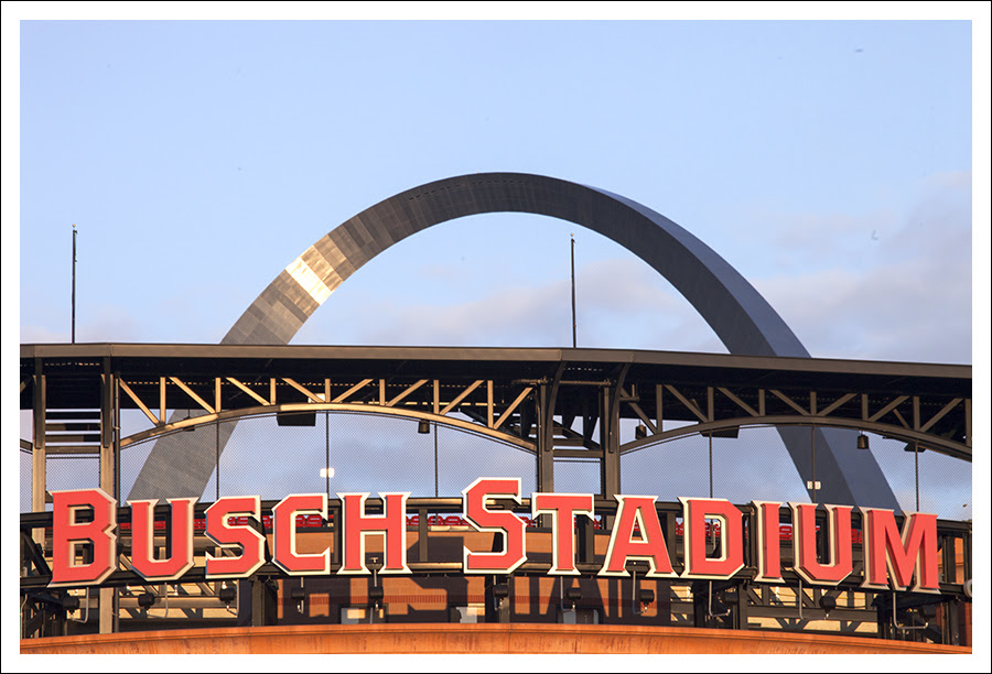 Busch Stadium and Arch - Sunset