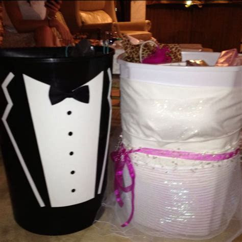Wishing well trash cans for the bride and groom, handmade