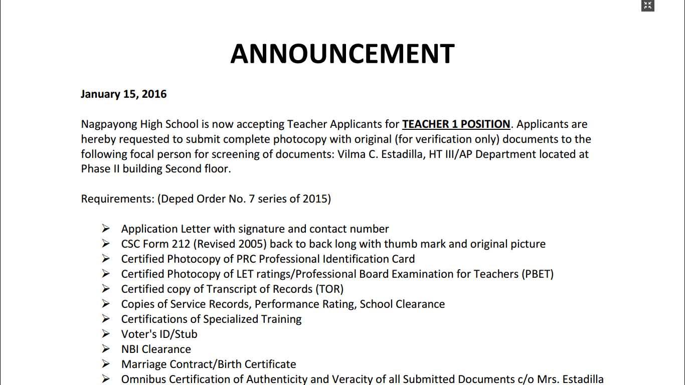 Nagpayong High School 2016 Ranking Of Teacher I Applicants