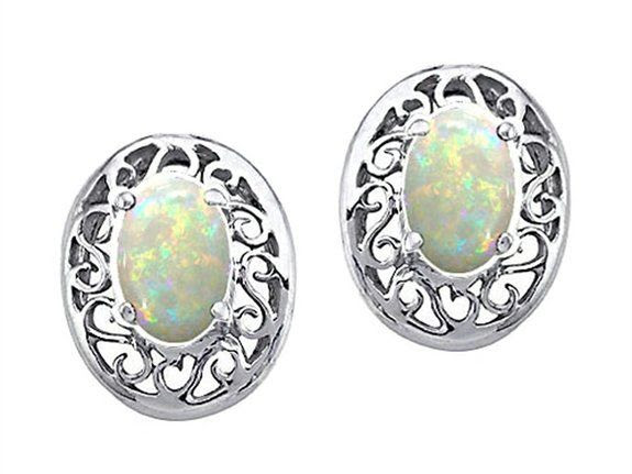 Tommaso Design Oval 5x3mm Genuine Opal Earrings White Gold