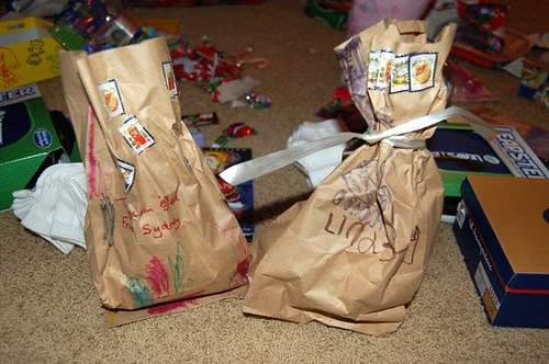 Gifts hand wrapped from Lindsey & Sydney