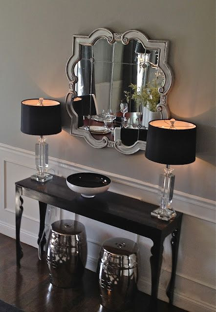 "Entry way South Shore Decorating Blog: Our Home Through the Years - I think I am going to do this for our guest room - so Mom has a place to sit and get ready when she visits. A cool ""Vanity"" / dressing table idea..."