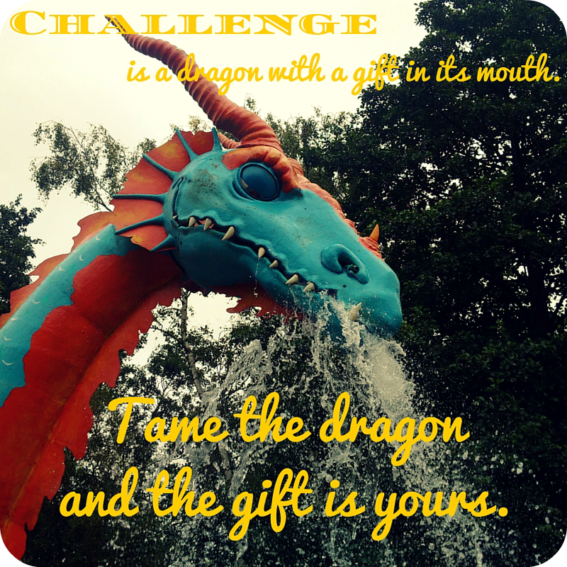 Challenge is a dragon with a gift in its mouth. Tame the dragon and the gift is yours.