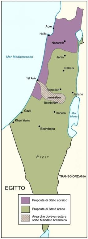 La proposta di spartizione della regione secondo la Commissione Peel. La soluzione fu accettata dagli ebrei e rifiutata dagli arabi