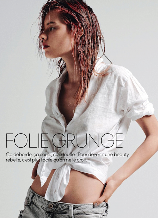 LE FASHION BLOG BEAUTY HAIR EDITORIAL FOLIE GRUNGE ELLE FRANCE WHITE TIE SHIRT WET STYLE HAIR RED BRIGHT HIGHLIGHTS FRONT TIE WHITE BLOUSE BUTTON DOWN SHIRT BLEACHED GREY GRAY DENIM JEANS ELLE FRANCE Folie Grunge Model: Camille Rowe Photographer: Nicolas Moore Hair: Brian Buenaventura Make-up: Christian McCulloch Manicure: Bernadette Thompson 2 photo LEFASHIONBLOGBEAUTYHAIREDITORIALFOLIEGRUNGEELLEFRANCEWHITETIESHIRT2.png
