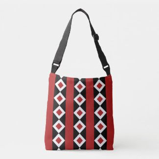 Geometric Red, White, Black Diamond Stripes Tote Bag