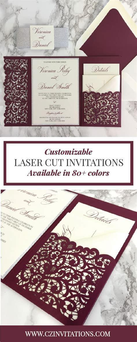 We love these totally custom Burgundy Laser Cut Wedding
