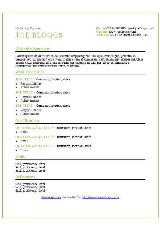 Apple accents CV/résumé template  CV Template Master
