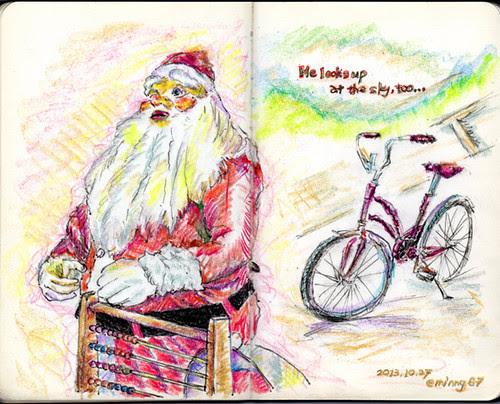 Santa Claus looks up...