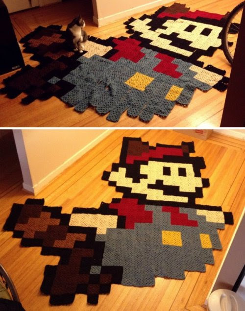 Stay Warm with this Hand-Knit Mario Quilt
