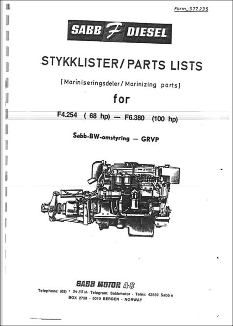 Sabb Ford F4.254 Diesel Engine Parts List - MARINE DIESEL