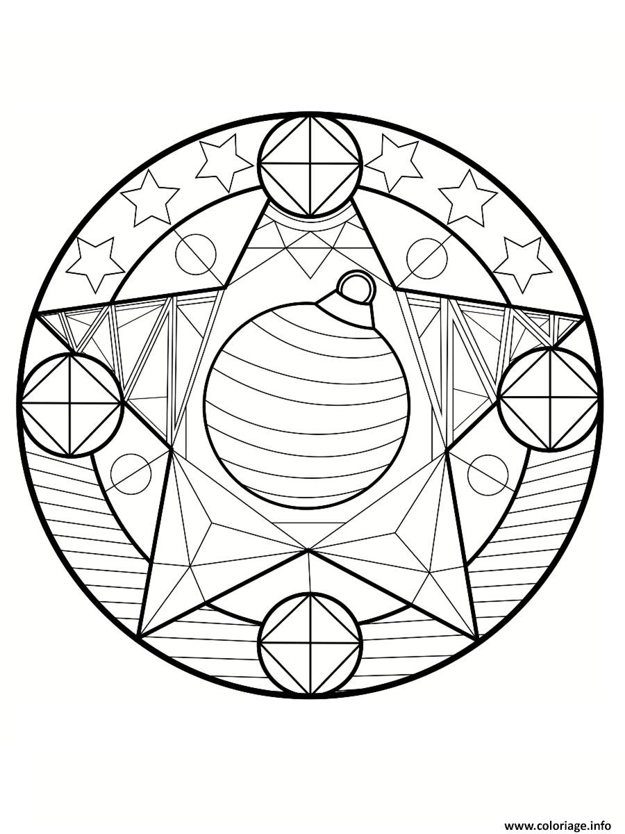 Coloriage Mandala Noel Etoiles Dessin  Imprimer