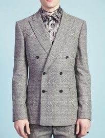 Topman Tmd Grey Textured Print Double Breated Suit Jacket