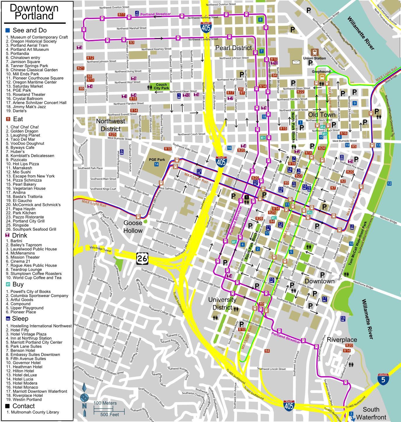 portland, oregon, touristische karte