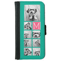 Teal & Hot Pink Instagram 8 Photo Collage Monogram iPhone 6 Wallet Case