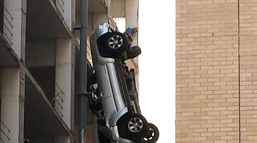 Escapa por milagre a queda do 9.º andar
