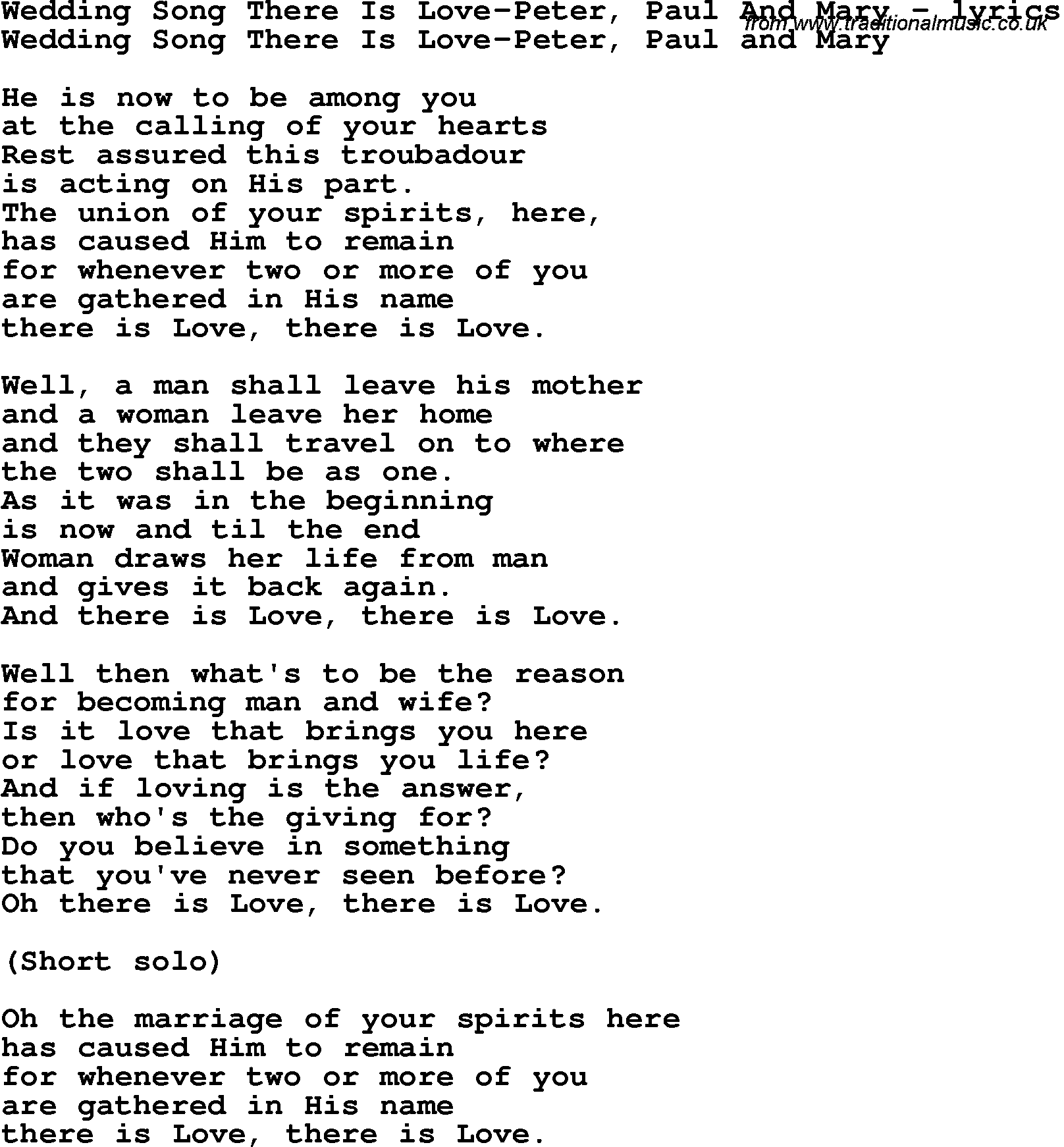 Love Song Lyrics Forwedding Song There Is Love Peter Paul And Mary