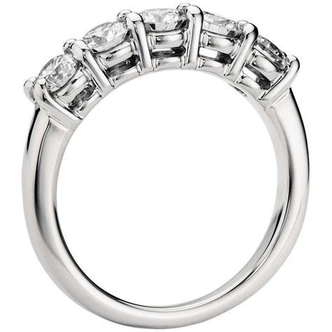 5 Diamond Platinum Wedding Band for Women in Prong Setting