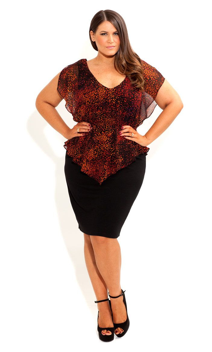 City Chic - LAYERED PEPLUM DRESS - Women's clothes  Big curvy plus size women are beautiful! fashion curves real women accept your body body consciousness