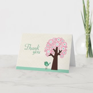 Trendy circle tree and bird baby shower thank you card