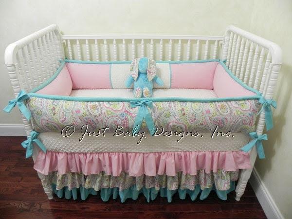 Custom Crib Bedding Sydney - Paisley with Pink and Aqua - BabyBeddingbyJBD