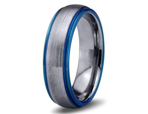 Mens Wedding Band,Blue Tungsten Ring,Blue Wedding Bands