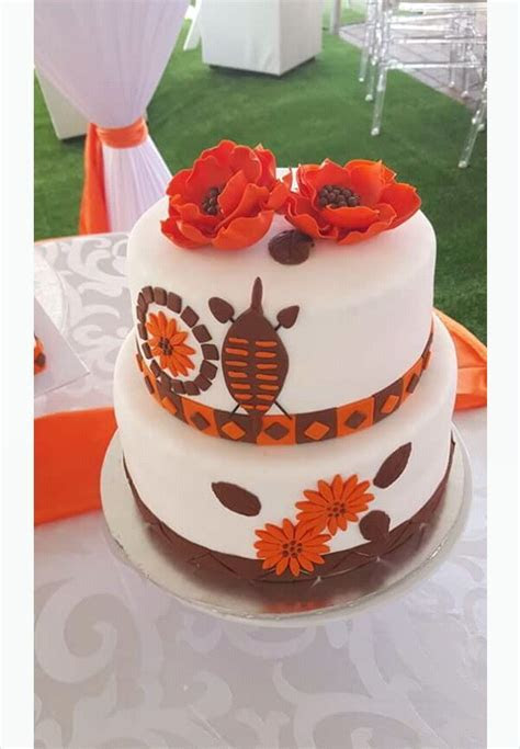 Orange, Brown and White Traditional Wedding Cake