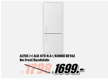 ALTUS ALK 470 N A+ Enerji Sınıfı No-Frost Buzdolabı Beyaz 1699TL