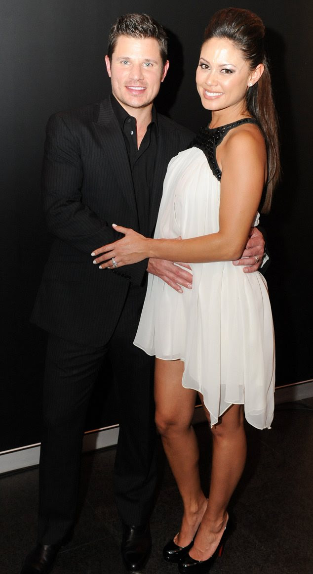 Night and day: Vanessa Minnillo and Nick Lachey look chic while attending the launch of Marquee nightclub in Sydney, Australia last night