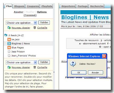 Se désabonner d'un flux RSS dans Bloglines