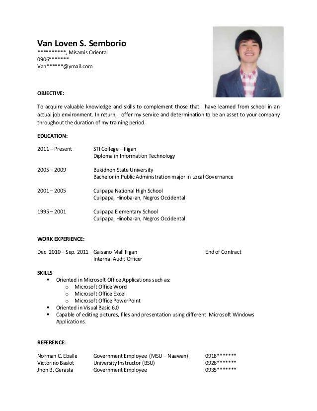 Sample Resume For Ojt Resume Cv Resume Sample Sample