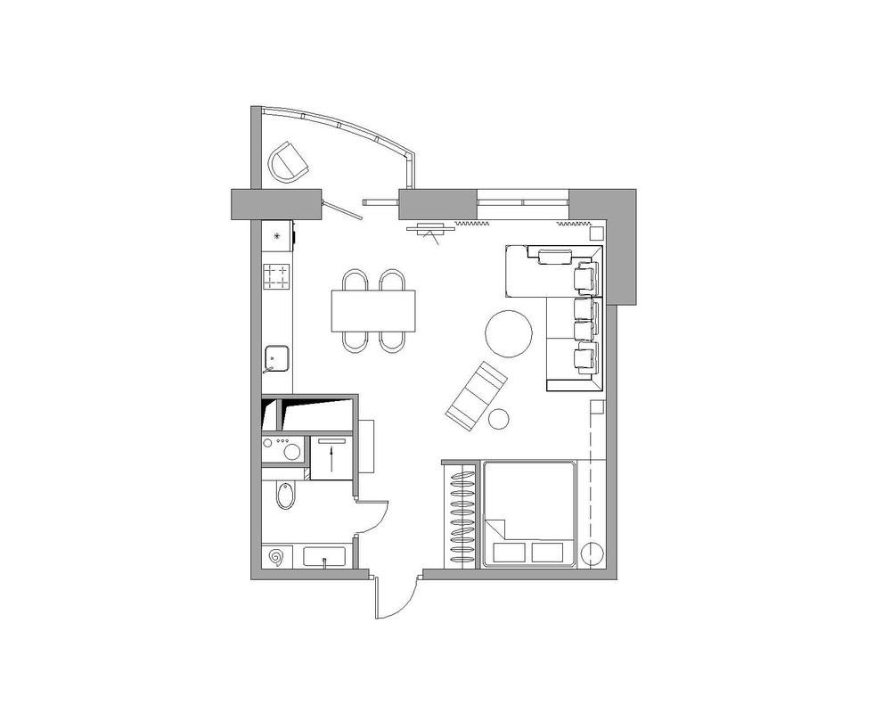bachelor-apartment-layout   Interior Design Ideas.