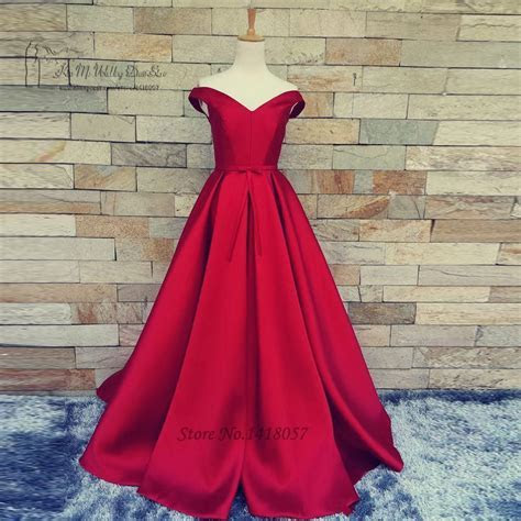 Vintage Red Prom Dresses Cheap Plus Size Satin Long