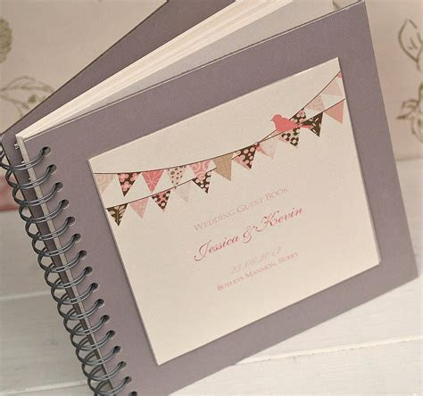 Bunting Design Personalised Wedding Guest Book   Vintage